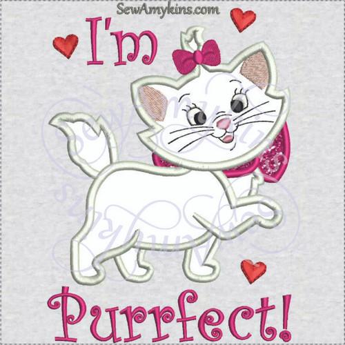 Marie cat Aristocats I'm Purrfect applique machine embroidery design