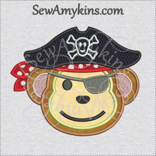 Pirate monkey face applique machine embroidery design
