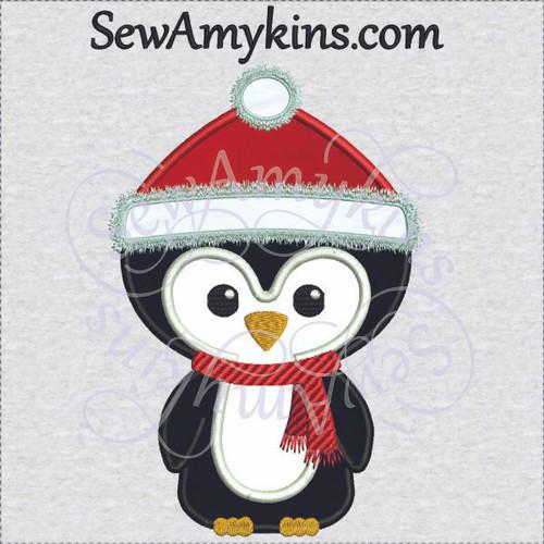 bb7baf946ceec cute winter Penguin applique Christmas hat scarf applique machine ...