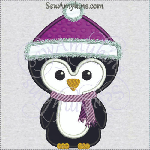 Penguin in hat winter santa applique machine embroidery design scarf