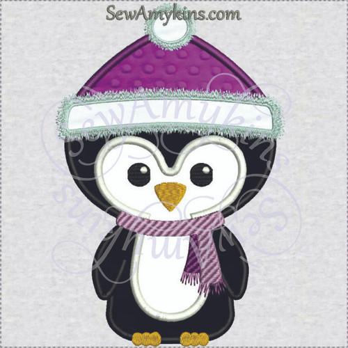 Penguin in hat winter santa applique machine embroidery design scarf