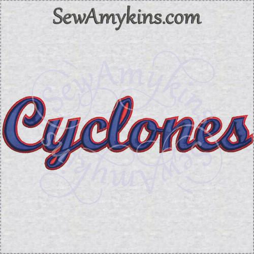 Cyclones cyclone team name sports machine embroidery design