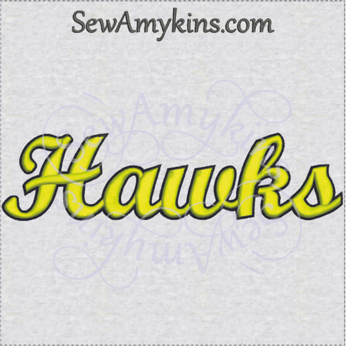 Hawks hawk team name sports machine embroidery design