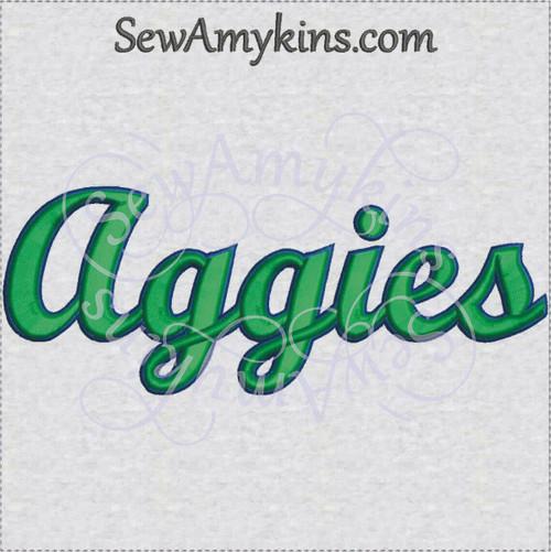 Aggies team name sports machine embroidery design