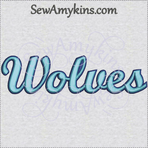 Wolves team name sports machine embroidery design