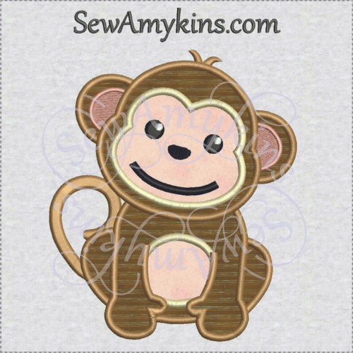 Monkey baby applique machine embroidery design