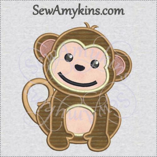 Monkey baby applique machine embroidery design