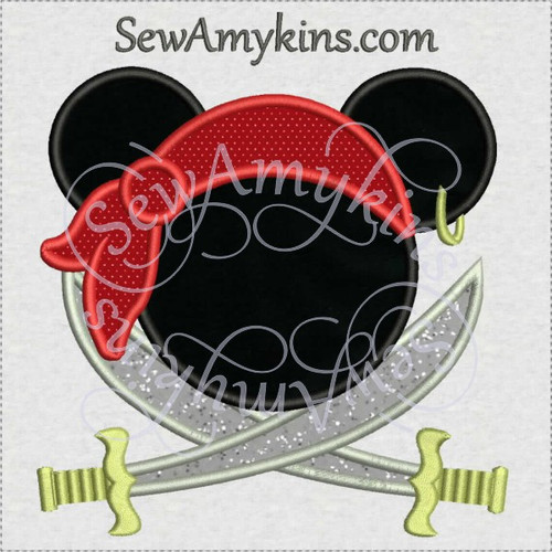 Mickey mouse pirate crossed swords applique machine embroidery design