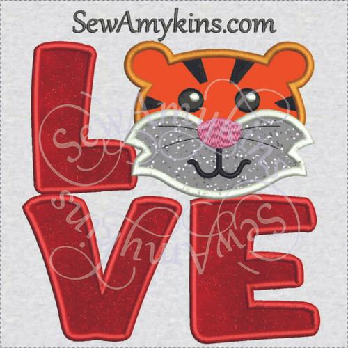 love tiger head face letters applique machine embroidery design