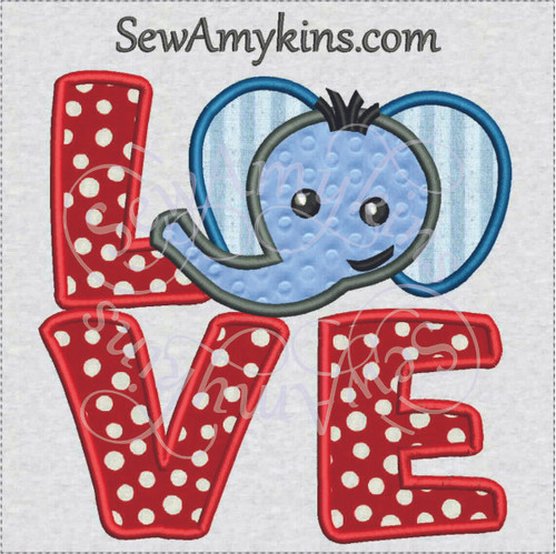 Love elephant head face letters applique machine embroidery design