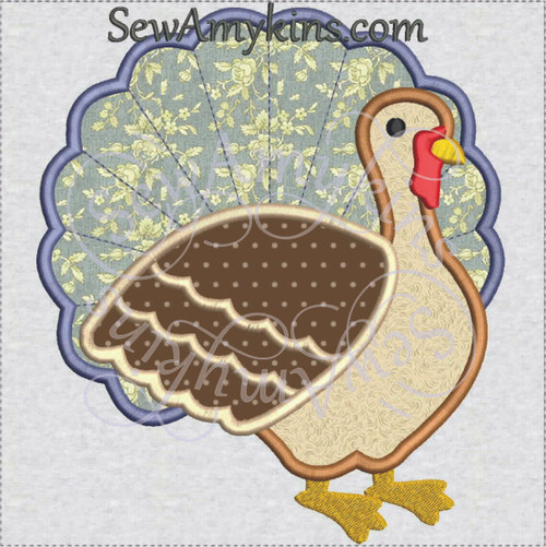 turkey traditional  applique machine embroidery design Thanksgiving