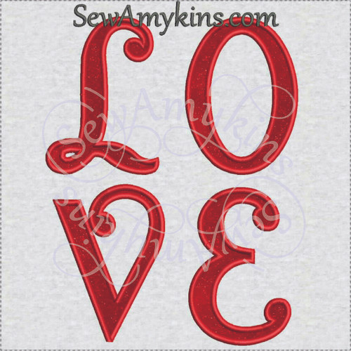 LOVE letters applique machine embroidery design