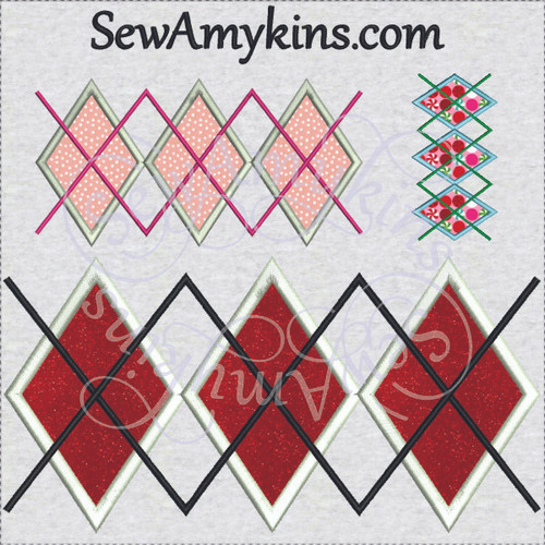 Argyle applique machine embroidery design diamonds