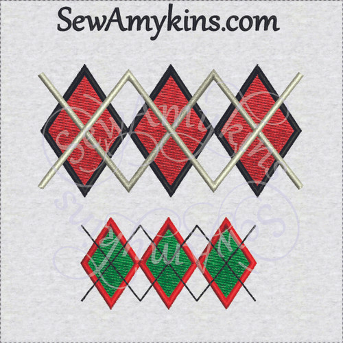 argyle small machine embroidery design diamonds
