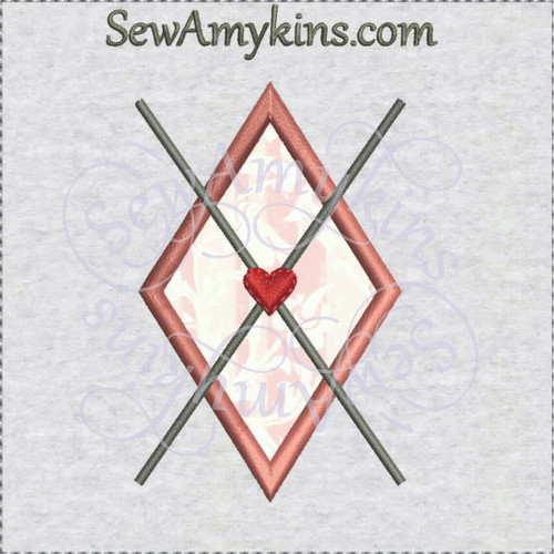 argyle single diamond heart applique machine embroidery design