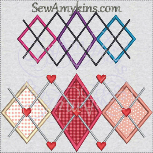 Argyle2 hearts diamonds applique machine embroidery design