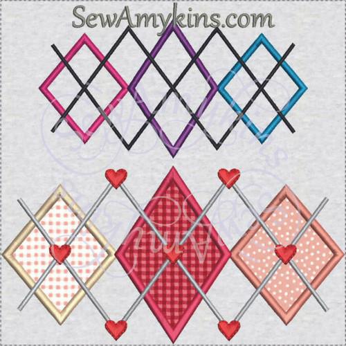 Argyle2 hearts diamonds applique machine embroidery design