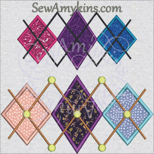 argyle2 dots diamonds applique machine embroidery design