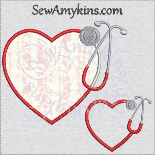 stethoscope hearts applique machine embroidery