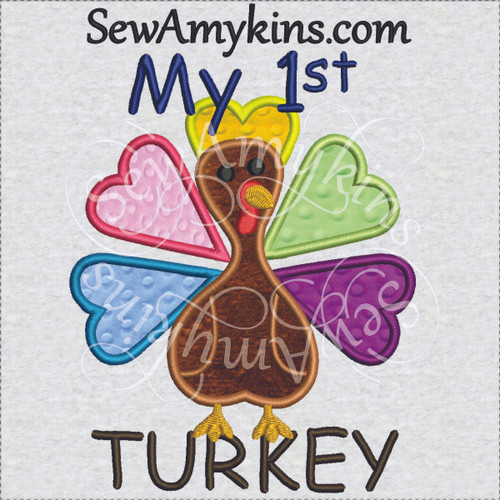 my first 1st turkey Thanksgiving applique machine embroidery design baby