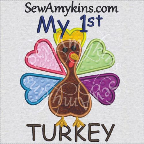 my first 1st turkey Thanksgiving applique machine embroidery design baby