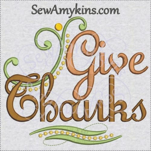 give thanks machine embroidery design Thanksgiving dots swirls