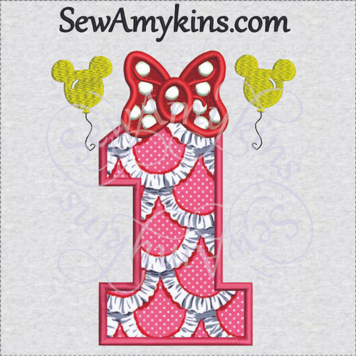 Minnie mouse birthday number bow one 1 first applique machine embroidery design
