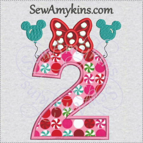 Minnie Mouse birthday number two 2 second applaiqu machine embroidery design