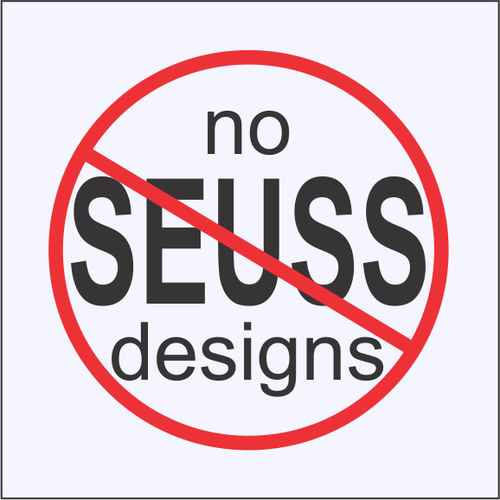 Notice: no Seuss fish or thing designs available