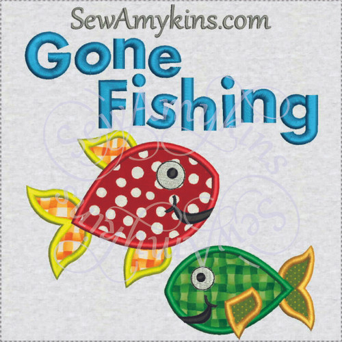 gone fishing fish applique machine embroidery design