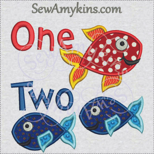fish applique one 1 two 2 machine embroidery design