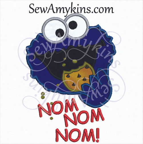 Cookie Monster face applique eats cookie nom nom words