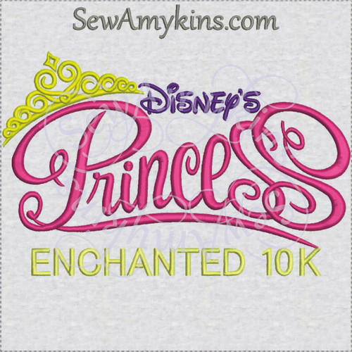 Disney Princess enchanted 10k run machine embroidery
