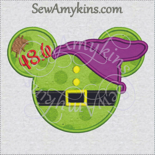Dopey challenge marathon run applique Mickey head embroidery design