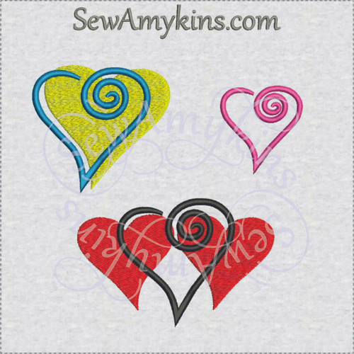 heart swirl machine embroidery design swirly modern Valentine love