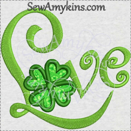 shamrock Love applique machine embroidery design St Patrick Irish