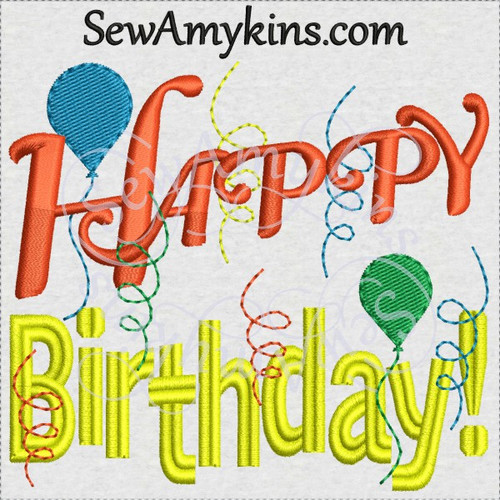 Happy birthday balloons streamers machine embroidery design