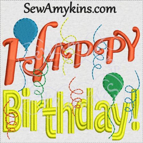 Happy birthday balloons streamers machine embroidery design