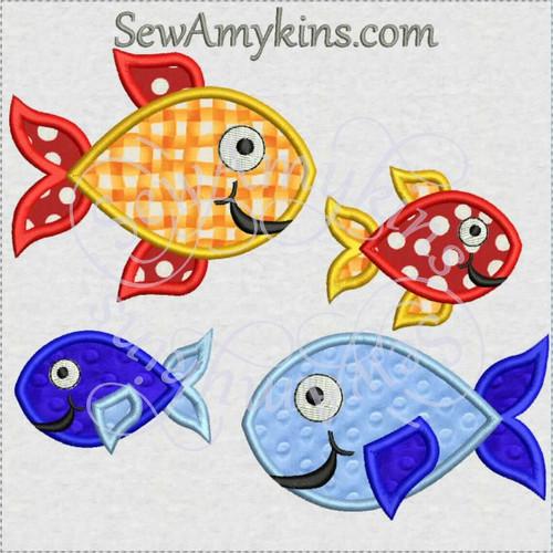 fun fish applique machine embroidery design fins smiley face