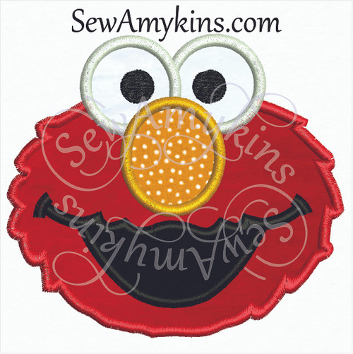 Elmo face applique machine embroidery design red furry monster