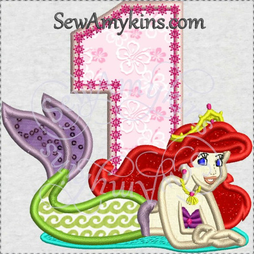 Ariel little mermaid one number birthday applique machine embroidery 1
