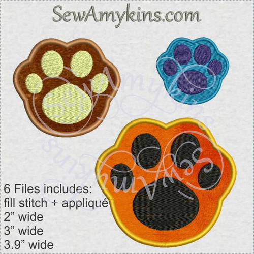 pawprints paw applique fill stitch machine embroidery design