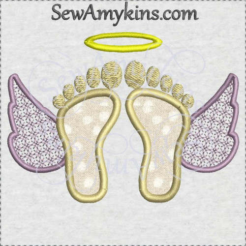 baby angel feet wings applique machine embroidery design