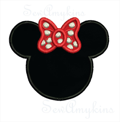 Minnie Mouse applique embroidery design, 5 sizes