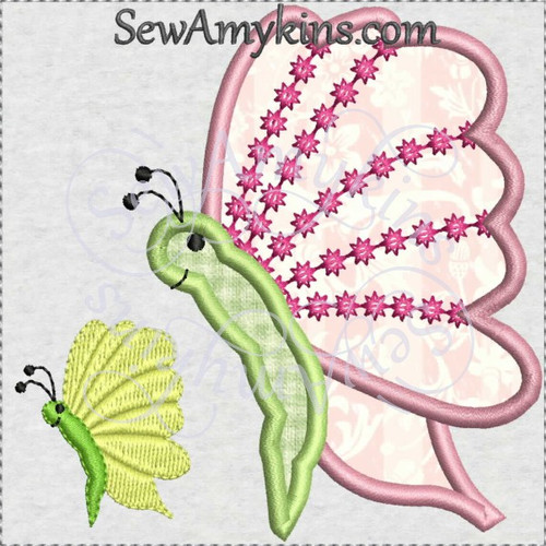 butterfly side view with dots applique machine embroidery design
