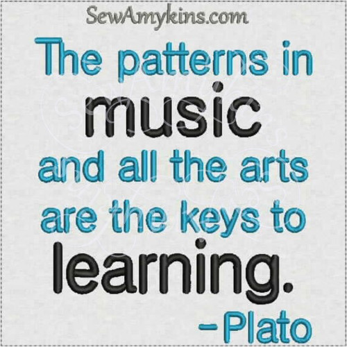 patterns music Plato saying quote arts appreciation machine embroidery design