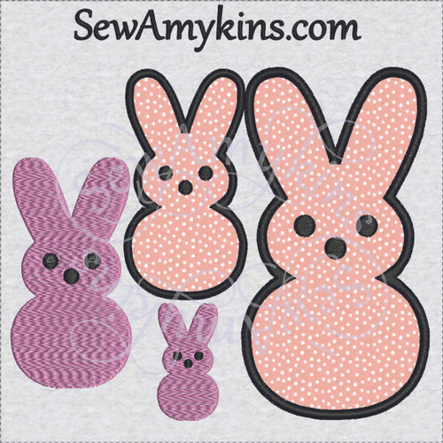 Easter bunnies marshmallow peeps applique machine embroidery