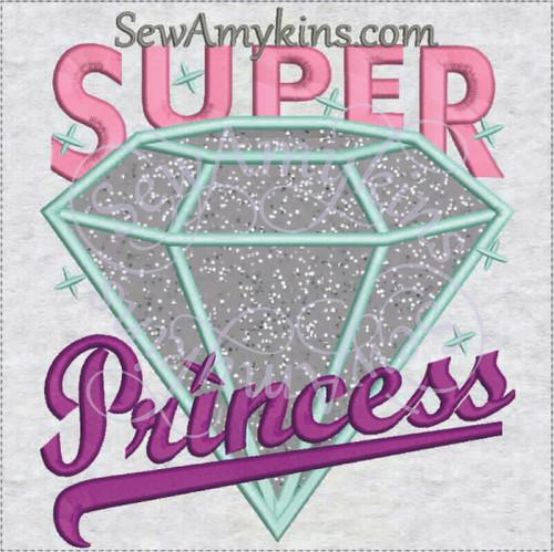 Super Princess diamond applique machine embroidery design
