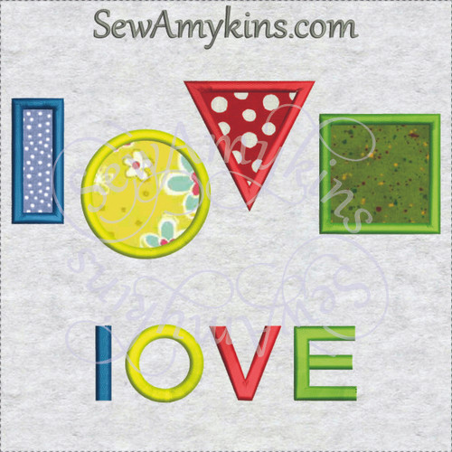 love shapes circle square rectangle triangle applique machine embroidery