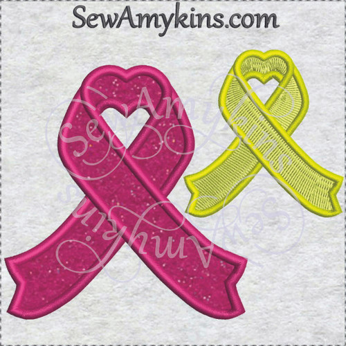 support ribbon new hearts applique fill machine embroidery aware awareness